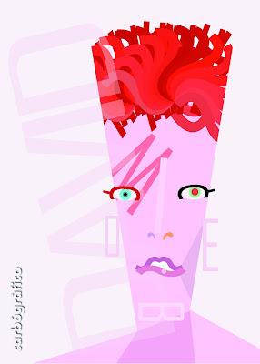 CARICATURAS,retrato  David Bowie ilustración y diseño con tipografías carbógràfico en sevilla