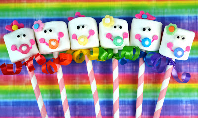 virtual rainbow baby shower for meaghan mountford ~ the decorated cookie!  marshmallow baby pops!!