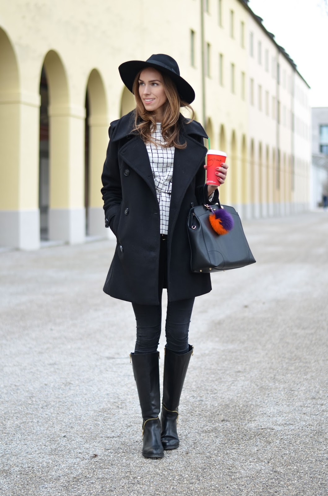 kristjaana mere peacoat fedora black leather boots winter outfit
