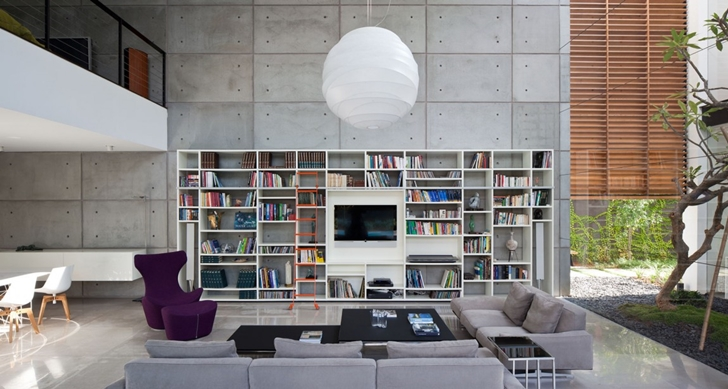 Large living room in Modern Bauhaus Mansion In Israel