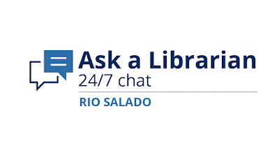 Text: Ask a Librarian Rio Salado College.  Available 24/7