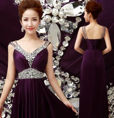 Royal Purple Diamond Sequin Cocktail Dress