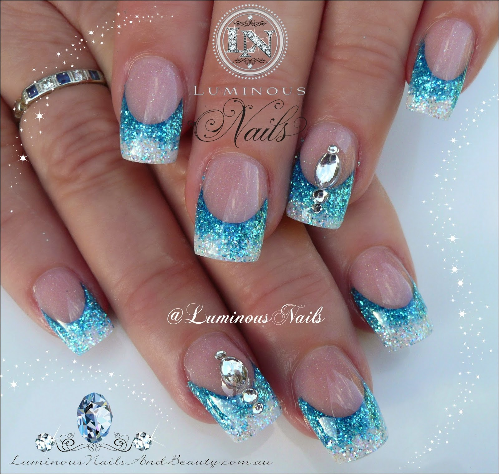 turquoise and white nail designs