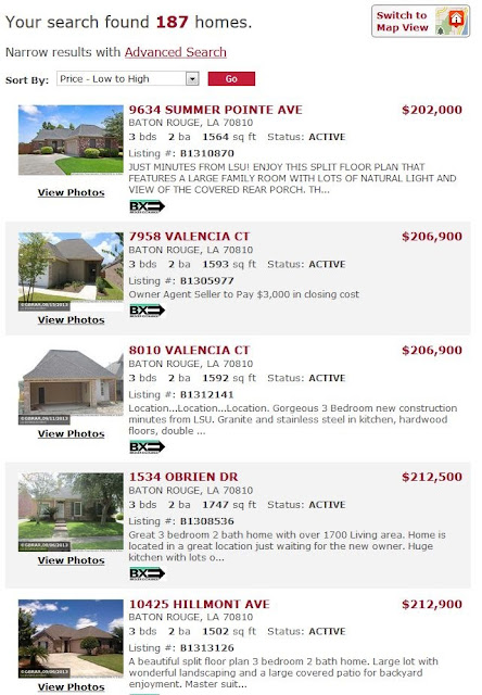 http://www.batonrougerealestatedeals.com/listings/propertytype/SINGLE/minprice/200000/maxprice/250000/beds/3/baths/2/areas/30952/