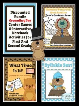Discounted Bundle of Groundhog Center Games and Activities for 1st and 2nd Grade By Fern Smith's Classroom Ideas