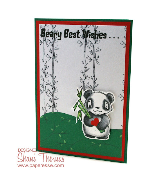 Panda Valentine's day card made with free digistamp and papers, by Paperesse.