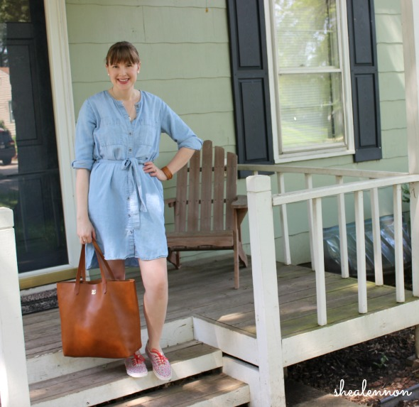 chambray dress with leather tote and floral sneakers for the weekend | www.shealennon.com