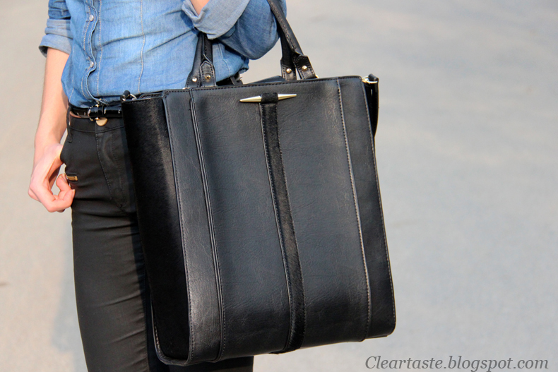 black zara shopper bag