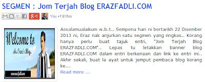 Tarikh Tutup SEGMEN : Jom Terjah Blog ERAZFADLI.COM Dilanjutkan ..