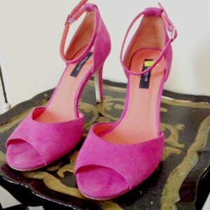 suede fuchsia ankle strap Ann Taylor sandals