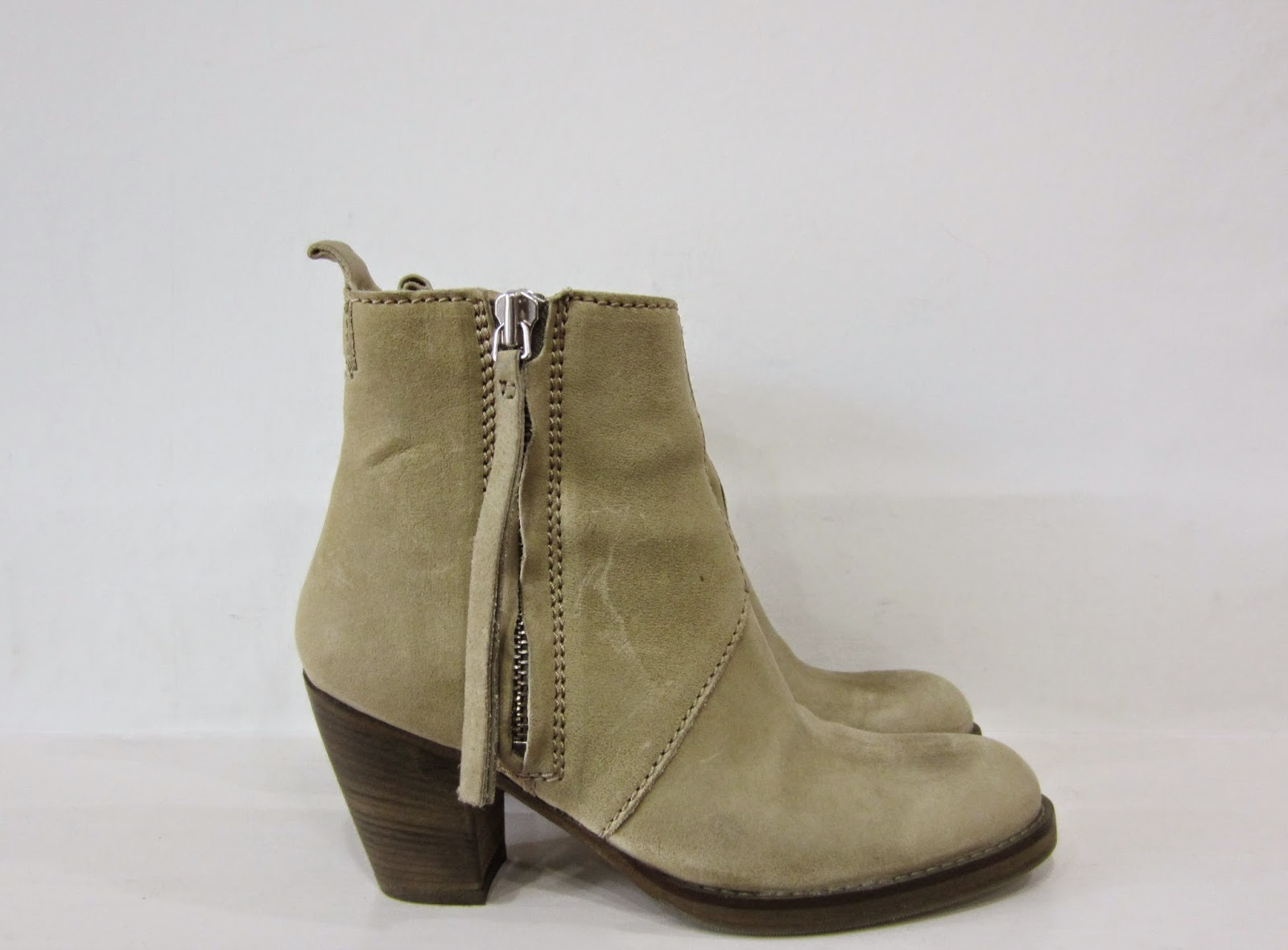 Acne Beige Leather Pistol Boots