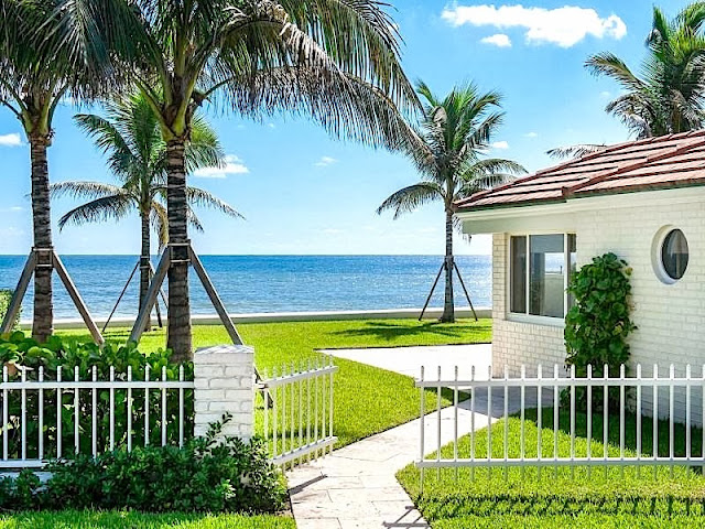 Palm Beach estate's view of the Atlantic Ocean