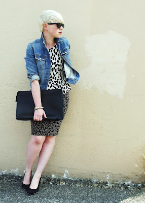 fleur d'elise, pattern mixing, leopard print, blonde, short hair, coach, vintage