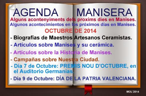 AGENDA MANISERA SEMANA 40 DE 2014