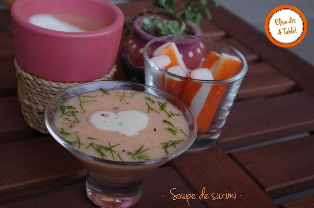 recette Soupe tiède de surimi