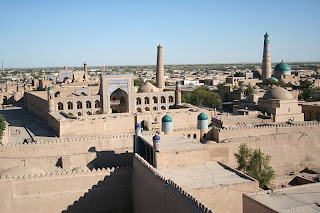 Central Khiva and the Khukhna Ark, the fortress-palace of Khiva.