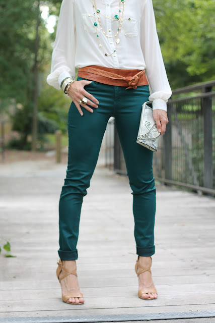 Waxed Jeans, Blouse, Ada Leather Wrap Belt from Lipp Boutique, Head Scarf, Cole Haan Air Mirella Sandals, Melinda Maria Cocktail Ring, Tiffany Ring, Diamonds Direct, the Queen City Style