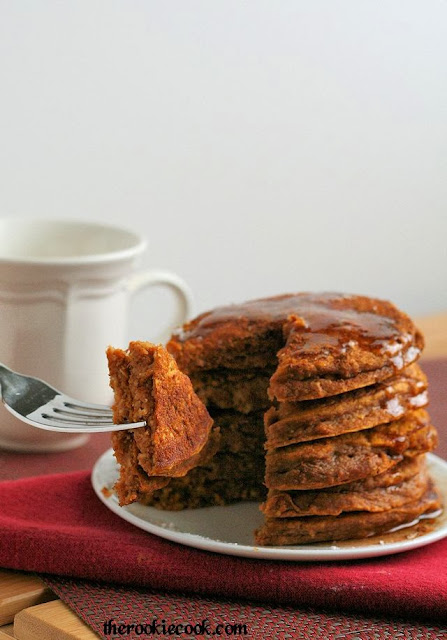 Whole Grain Gingerbread Pumpkin Pancakes ~ The Rookie Cook