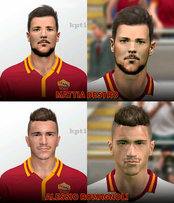PES 2014 Mattia Destro and Alessio Romagnoli Faces by kpt1