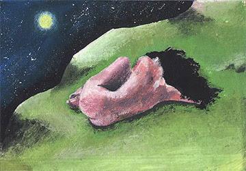 donna ragazza dorme dipinti vajra corsi incontri seminari quadro disegno pittura spirituale arte zen