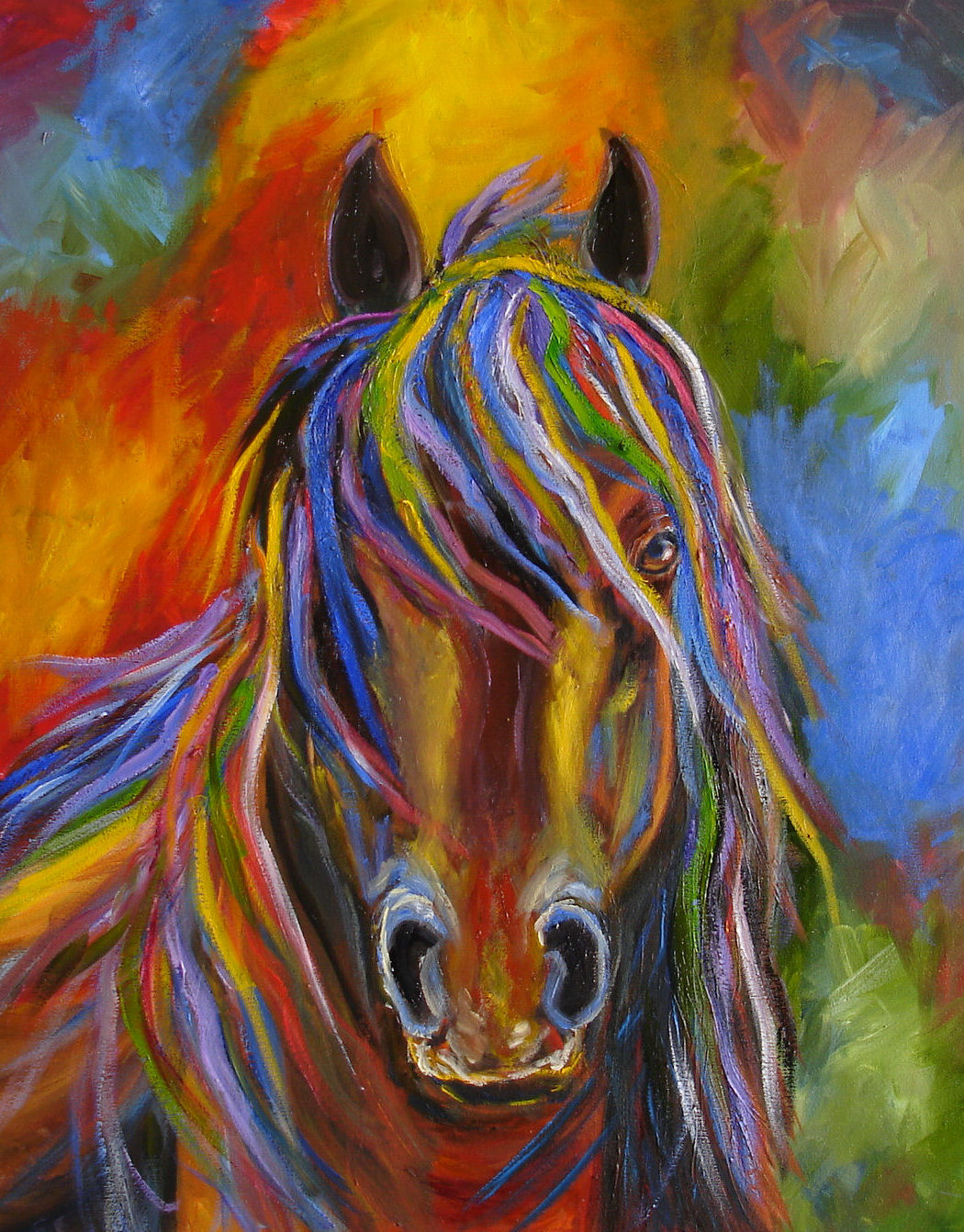 Equine artists international mj zorad abstract horse for Contemporary oil paintings