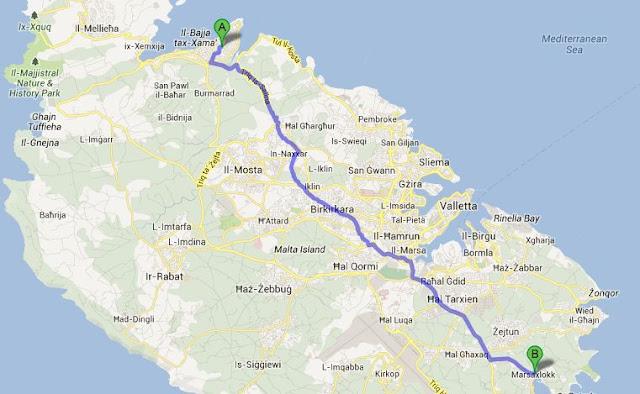 Mapa Malty - trasa z Bugibby do Marsaxlokk
