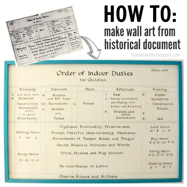 wall art from historical document