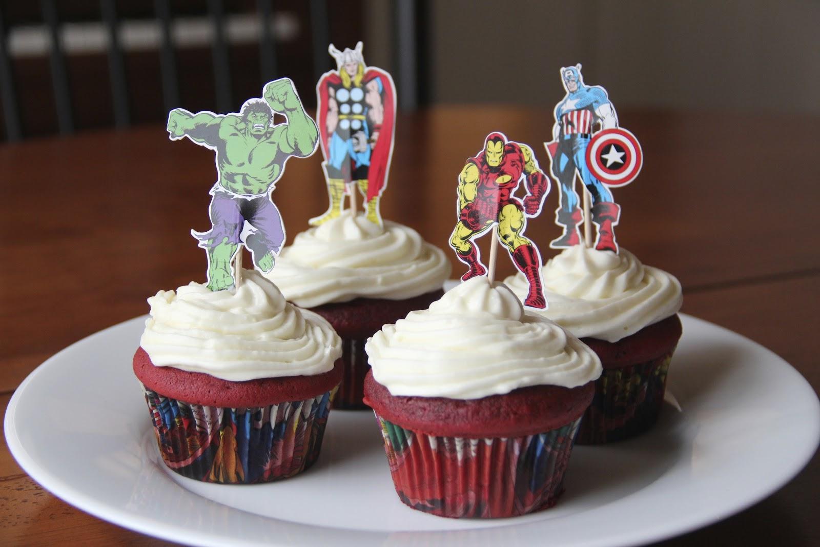 Delightfully Random: Red Velvet, Avengers Birthday Cupcakes
