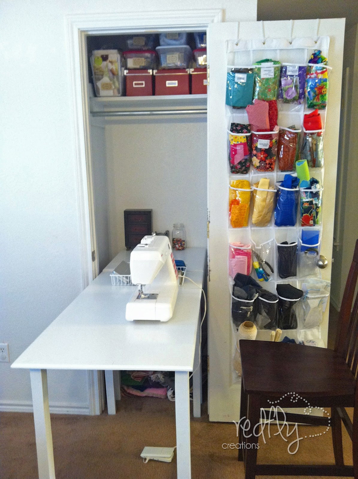 Redfly creations sewing table folds up into closet - Sewing table for small spaces design ...