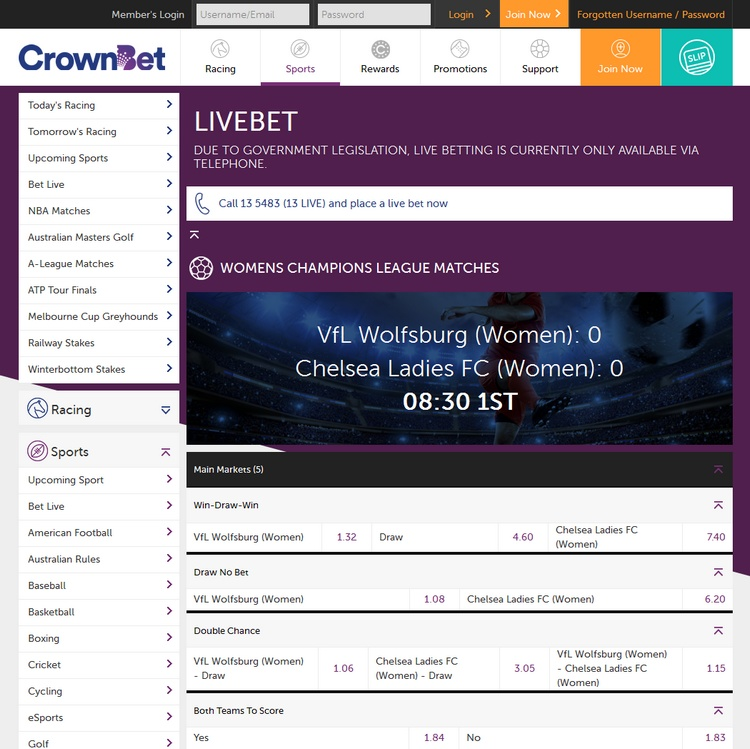 Crownbet Live Betting Offers