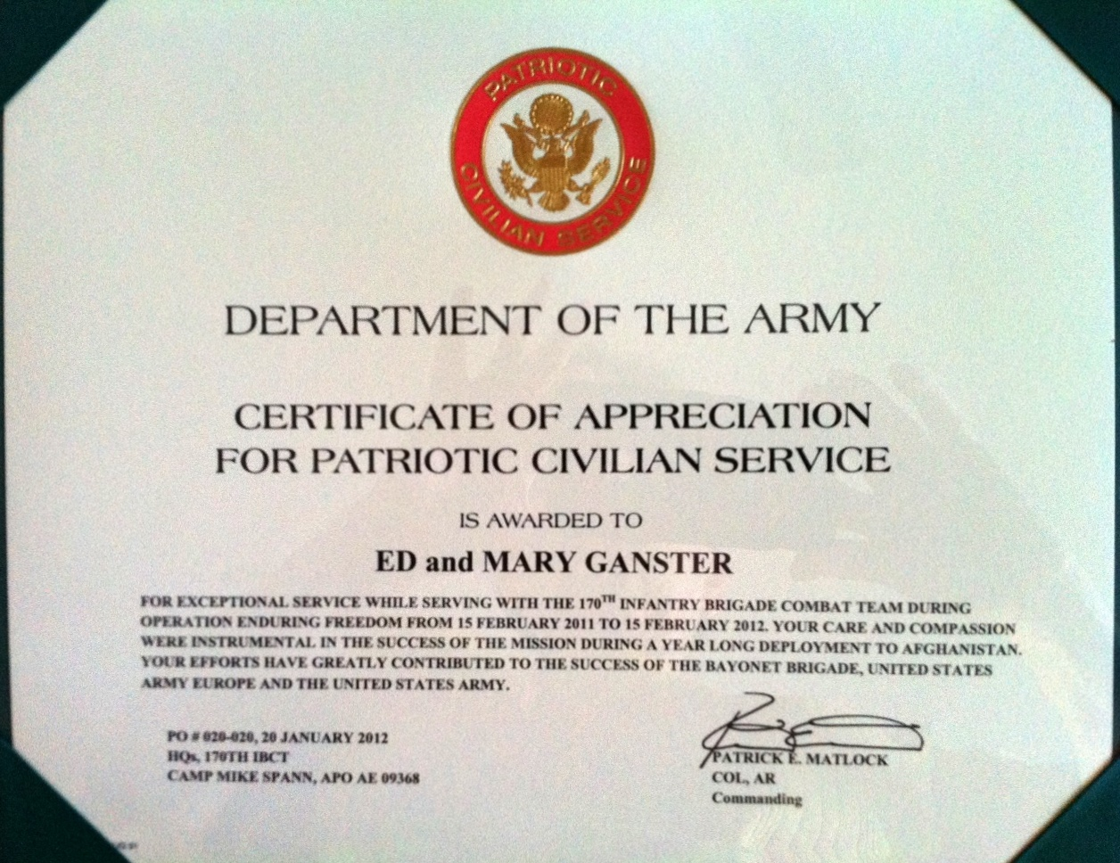 Perfect OS91 Receives Certificate Of Appreciation From Army  Army Certificate Of Appreciation