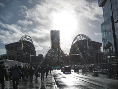 Fans walking to CenturyLink Field to watch the Seahawks play the New Orleans Saints in the NFC Divisional Playoffs.