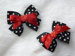 black polka dot bow hairclips