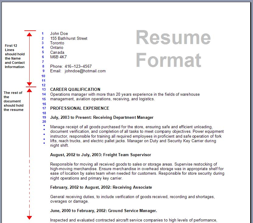 Resume Examples Standard Resume Samples Best Resume Format