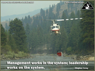 Management works in the system; leadership works on the system.  –Stephen Covey