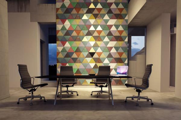 Interior design: piastrelle decorative in pelle lapèlle design
