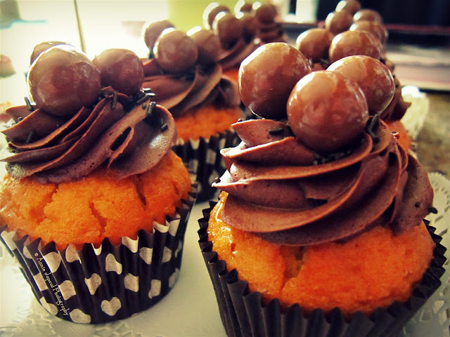 chocolate cupcakes with maltesers on top