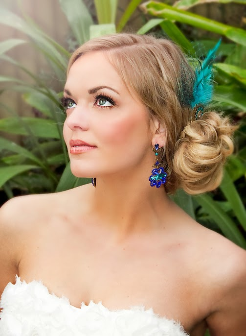 Dark blue & aqua Crystal Formal Earrings