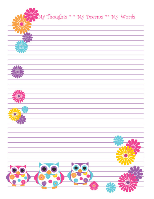 Free Printable Owl Note Paper