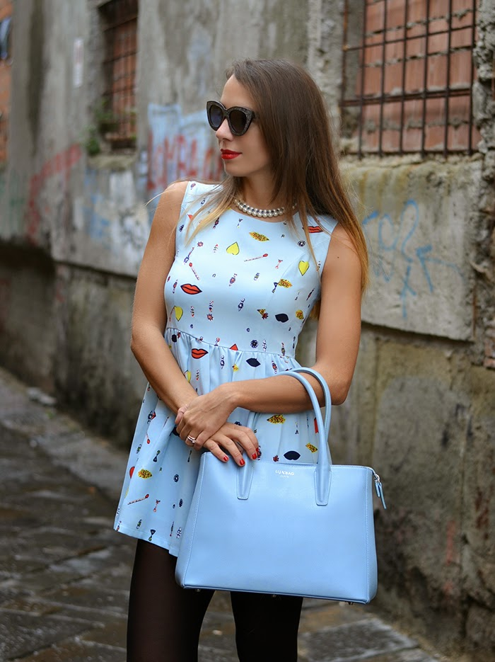 pastel blue bag dress