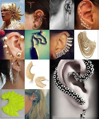 Ear cuff de modelos e tamanhos diferentes