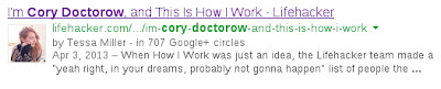 Google Authorship search result for Cory Doctorow