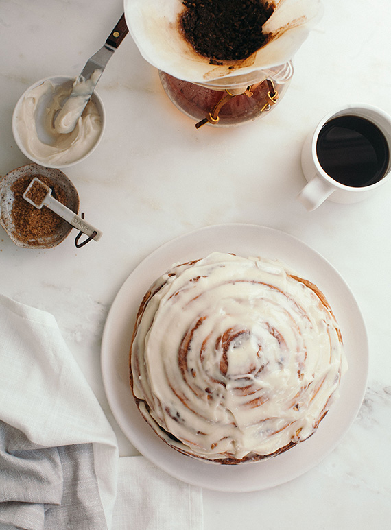 Giant cinnamon bun recipe by A Cozy Kitchen