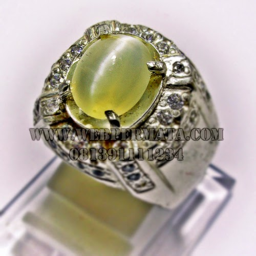 Cincin Batu Opal Cat eye, Batu Permata Yellow Opal, Batu Permata Cat eye, Permata Mata Kucing