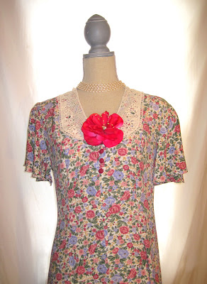 Hand Embellished Up-Cycled Vintage 80s Dress, Floral Pattern Pleasant Country Dress