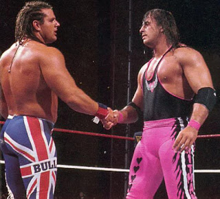 WWF SummerSlam 1992 Bret Hart shake hands British Bulldog Davey Boy Smith Intercontinental Championship