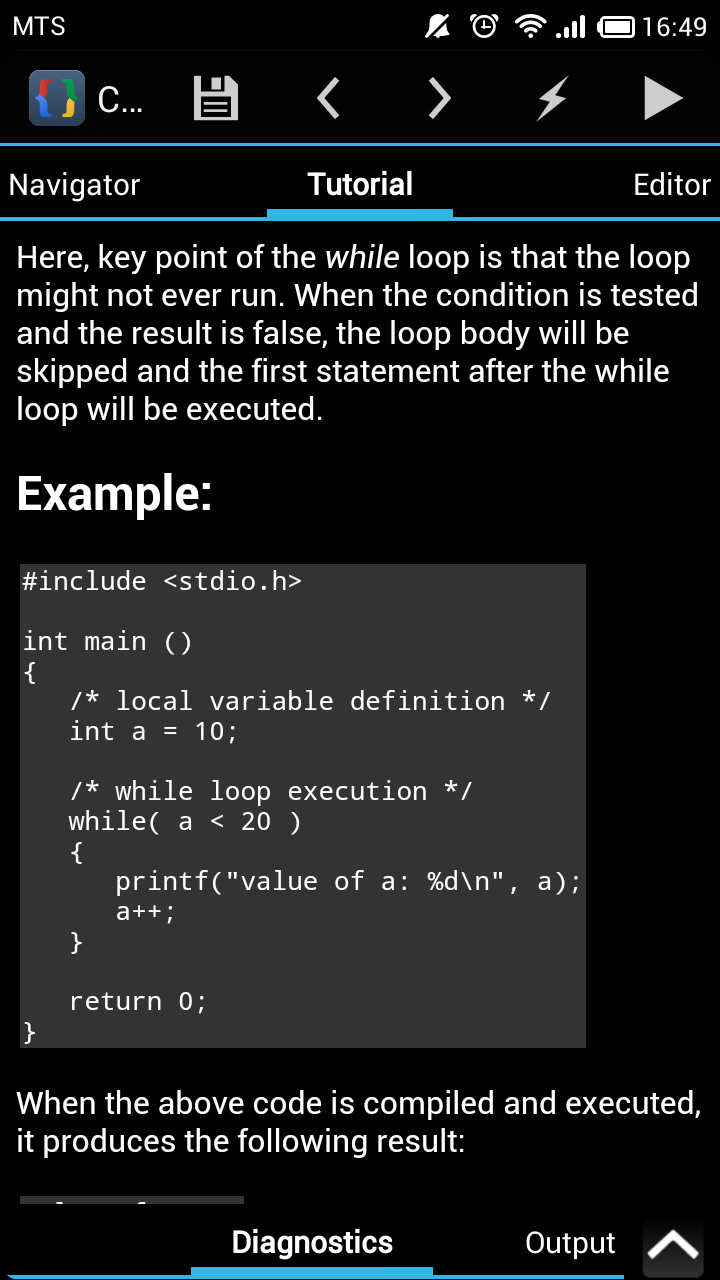 Tutorialspoint c tutorial added cppdroid cc ide for android note that for complete code snippets usually with main function you can switch to code editor editor section compile and run example right in tutorial baditri Choice Image