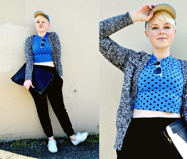 in style, crop top, polka dots, baseball cap, how to, seattle, street style, vintage coach, fleur d'elise