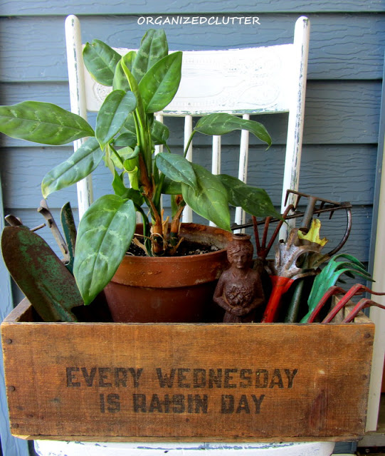 Wooden Crate with Garden Tools Vignette on Chair