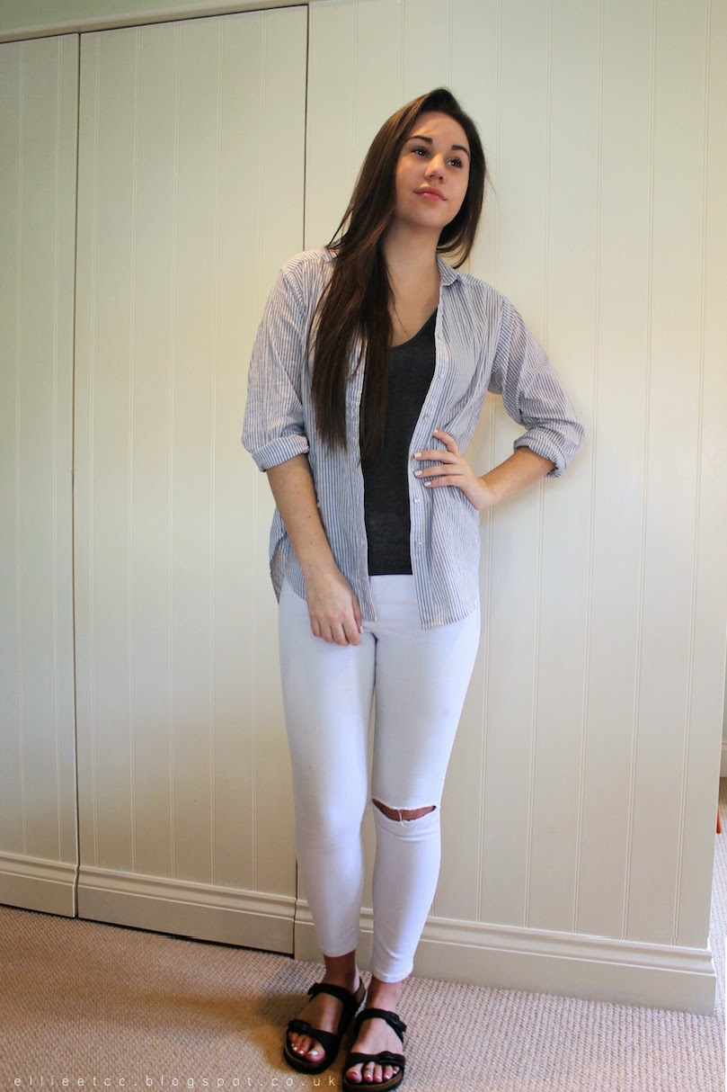 white jeans, Topshop, outfit, ways to wear, shirt, ripped jeans, OOTD